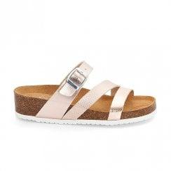 Ara Womens Bali Flat Slip On Strappy Sandals - Rose