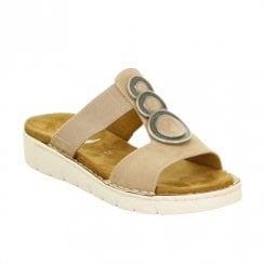 Ara Womens Korsika Elastic Strap Slip On Comfort Sandals - Beige