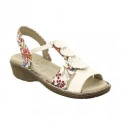Ara Korsika Elastic Slim Strap Comfort Wedge Sandals - White Floral