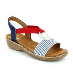 Ara Korsika Elastic Strap Slip On Wedge Sandals - Red Blue White