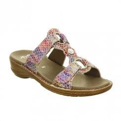 Ara Hawaii Side Velcro Straps Slip On Comfort Mule Sandals - Multi