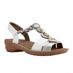 Ara Hawaii Elastic Slim Strap Wedge Sandals - Silver/White