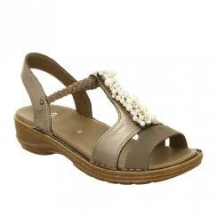 Ara Hawaii Elastic Slim Strap Leather Wedge Sandals - Metalic Bronze