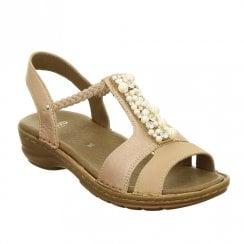Ara Hawaii Elastic Slim Strap Leather Wedge Sandals - Powder Pink