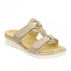Ara Hawanna Slip On Side Velcro Straps Mule Sandals - Rose Metallic