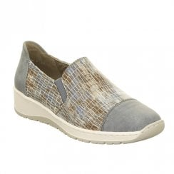 Ara Ossona Elastic Strap Slip On Wedge Shoes - Sky