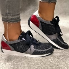 Ara Lace Up Trainer In Navy Silver and Red