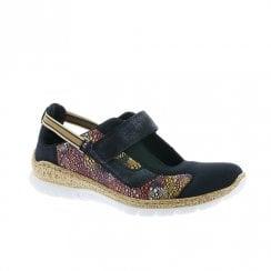 Rieker Womens Elasticated Slip On Comfort Shoes - Navy