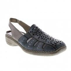 Rieker Womens Leather Casual Slingback Shoes - Sky Blue Ice