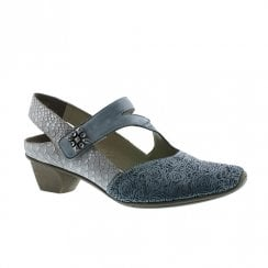 Rieker Womens Leather Casual Slingback Velcro Shoes - Jeans Blue/Grey