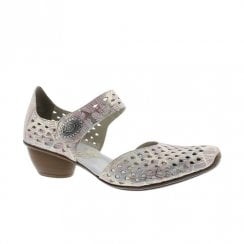 Rieker Womens Leather Casual Mary Jane Shoes - Rose Pastel Print