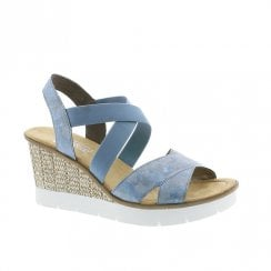Rieker Womens Wedge Heeled Elasticated Panels Sandals - Blue