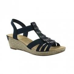 Rieker Womens Wedge Heeled T-bar Slingback Sandals - Navy