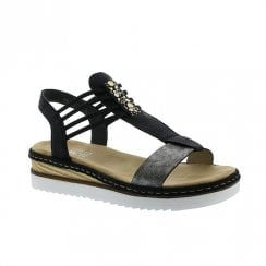 Rieker Womens Flat Wedge Elasticated Sandals - Black