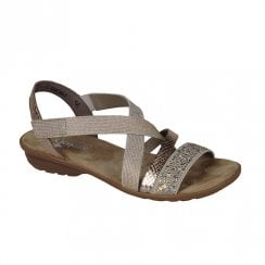 Rieker Womens Flat Elasticated Panels Sandals - Beige