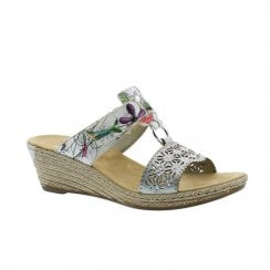 Rieker Womens Wedge Heeled Slip On Mule Sandals - Ice Flower