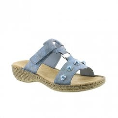Rieker Womens Flat Wedge Slip On Mule Sandals - Blue