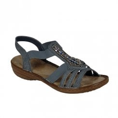 Rieker Womens Flat Wedge Slingback Strap Sandals - Grey