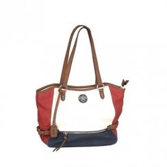 Rieker Tote Shopper Shoulder Bag - White/Red/Brown H1066-80
