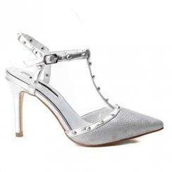 XTI Open Heel Studded Stiletto T-bar Court Shoes - Silver 35030