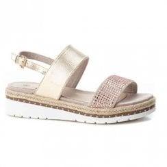 XTI Womens Elegant Flat Wedge Slingback Sandals - Beige/Gold