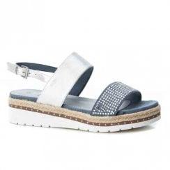 XTI Womens Elegant Flat Wedge Slingback Sandals - Blue Jeans/Silver