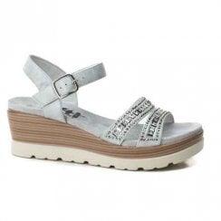 XTI Womens Wedge Heeled Sandals - Light Grey