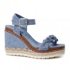 XTI Womens High Wedge Platform Sandals - Blue Jeans