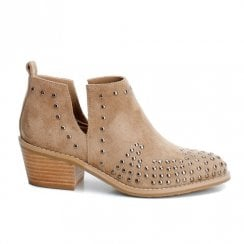 Xti Womens Low Cuban Block Heel Slip On Low Boots - Camel