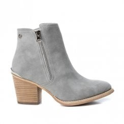 Xti Womens Block Heeled Side Zipper Ankle Boots - Grey