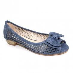 Lunar Kane III Peep Toe Bow Summer Sandal Pumps - Blue Jeans