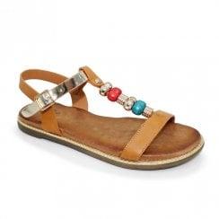 Lunar Amara Beaded Metallic Flat Sandals - Camel Tan
