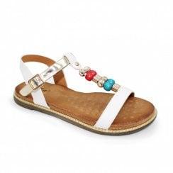 Lunar Amara Beaded Metallic Flat Sandals - White