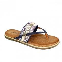 Lunar Grayson Slip On Metallic Toe Post Flat Sandals - Blue