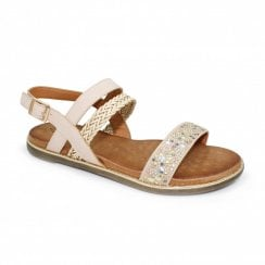 Lunar Jaya Braided Stud Flat Sandals - Beige