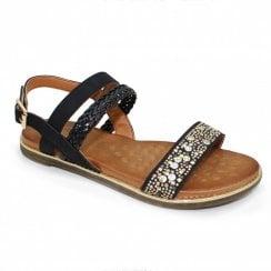 Lunar Jaya Braided Stud Flat Sandals - Black
