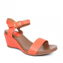 Lunar Rocco Summer Wedge Heeled Sandals - Orange