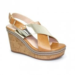 Lunar Georgie High Wedged Sandals - Tan/Silver