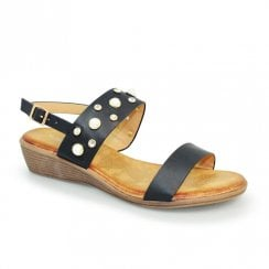 Lunar Avery Low Wedged Sandals - Black