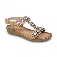 Lunar Bijou Flower Low Wedge Sandals - Beige