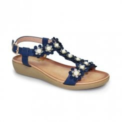 Lunar Bijou Flower Low Wedge Sandals - Blue
