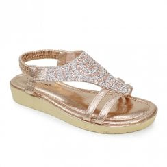 Lunar Bianco Elasticated Gemstone Sandals - Rose Gold