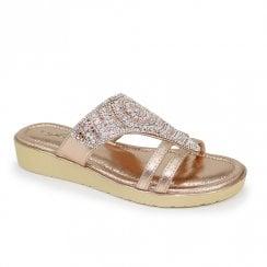 Lunar Adena Slip On Metallic Gemstone Sandals - Rose Gold