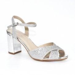 Lunar Flo Gemstone Cross Strap Block Heeled Sandals - Silver