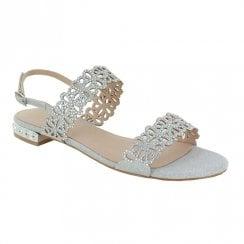 Menbur Sling Back Occasion Flat Sandals - Silver