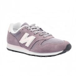 New Balance Womens 373 Lace Up Suede Sneakers - Grey/Purple
