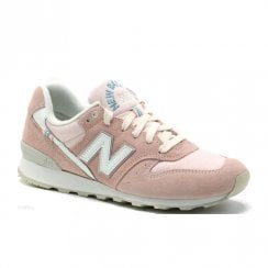 New Balance Womens 996 Lace Up Suede Sneakers - Pink/White