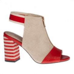 Kate Appleby Stalham Striped Slingback Heeled Sandals - Beige/Lipstick Red