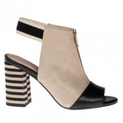 Kate Appleby Stalham Striped Slingback Heeled Sandals - Beige/Black