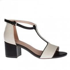 Kate Appleby Barnet 2 Tone Patent T-Strap Mid Block Sandals - Cream/Black